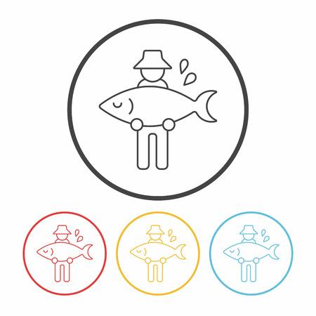 fisherman line icon