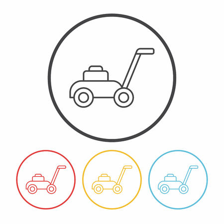 push mower: Lawn mower line icon Illustration