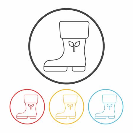 rain boots: Botas de lluvia icono l�nea Vectores