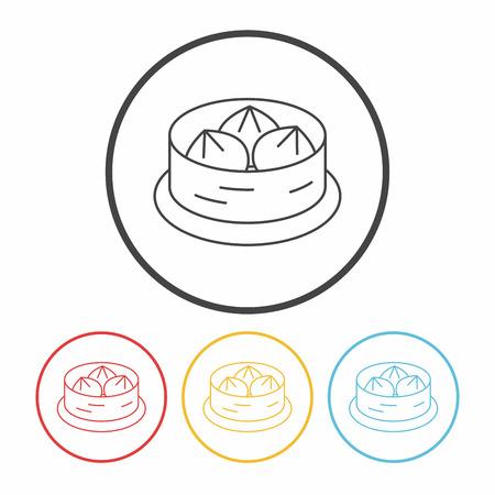 Steamed stuffed bun line icon