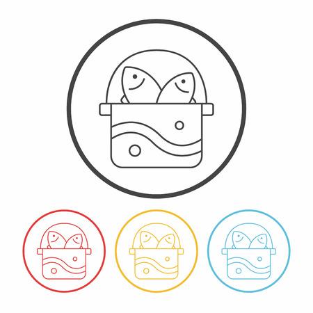 bait box: fishing box line icon