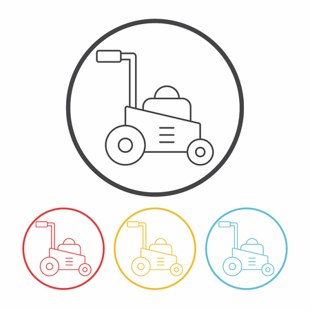 push mower: Lawn mower line icon Illustration