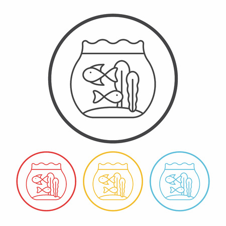 trapped: fish bowl line icon Illustration