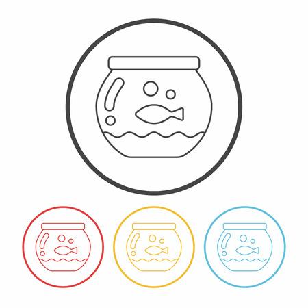 goldenfish: fish bowl line icon Illustration