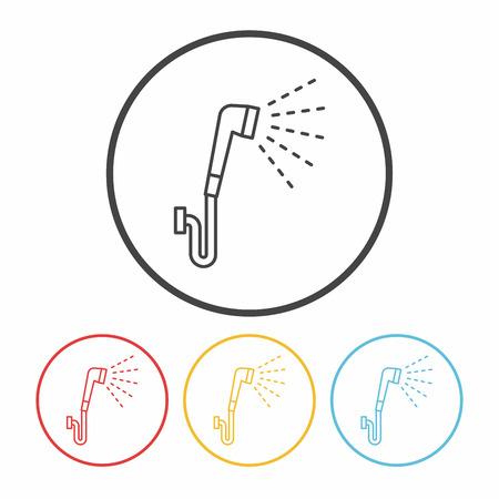 rinse: Showerheads line icon Illustration
