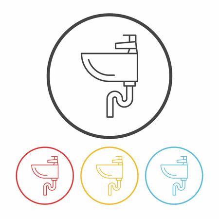 washbowl: Sink line icon Illustration