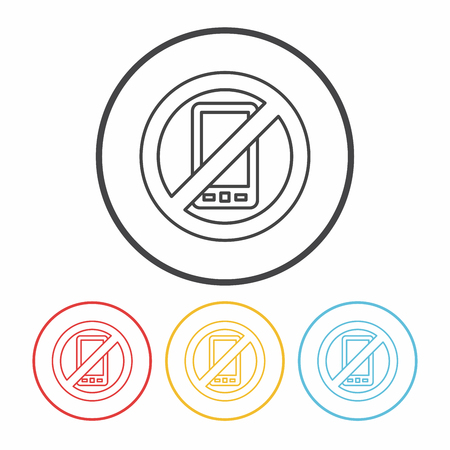 no cell phone sign: no phone line icon Illustration