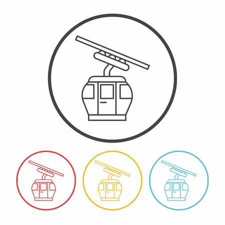 cable car: cable car line icon Illustration