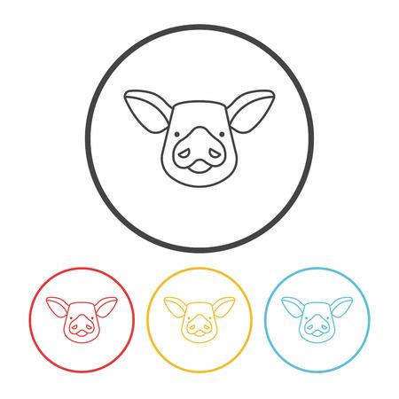 bacon art: pig line icon