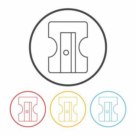 sacapuntas: Lápiz icono de línea afilador Vectores