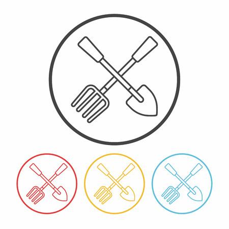 hand trowel: gardening shovel line icon