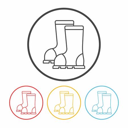 galoshes: Rain boots line icon Illustration