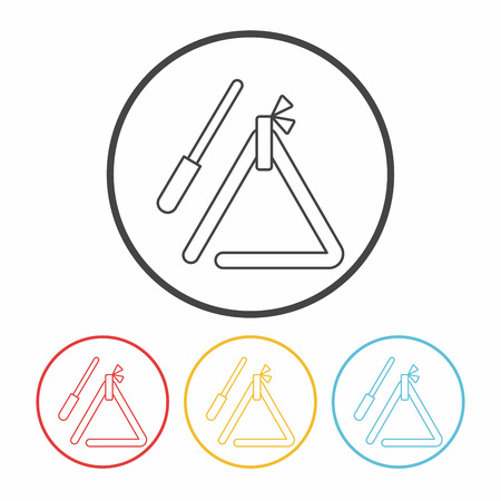 triangle musical instrument: musical triangle line icon Illustration