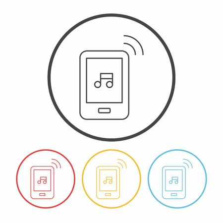portable audio: music player line icon