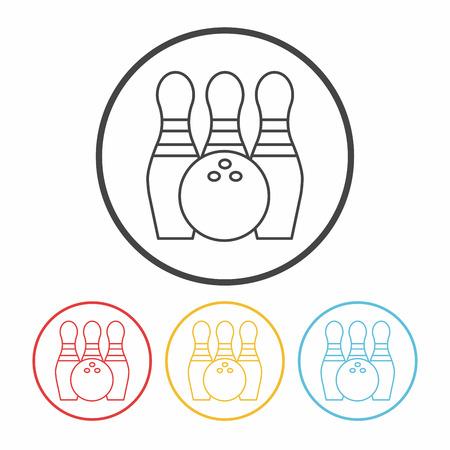 ten pin bowling: bowling line icon