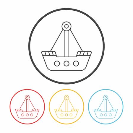 amusement park pirate ship line icon