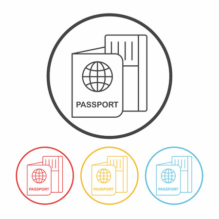 emigration and immigration: passport line icon