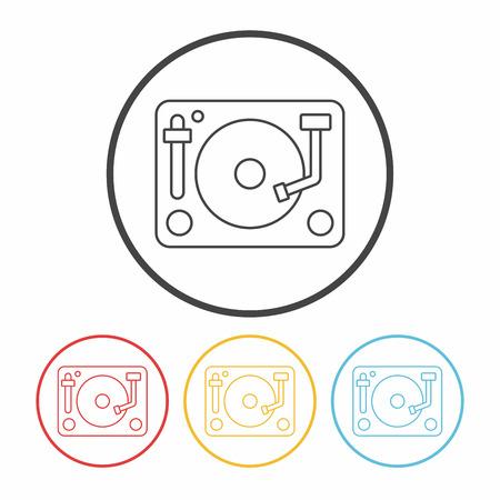 vinyl disk player: DJ disk line icon