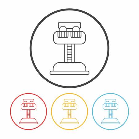 thrill: amusement park drop tower line icon