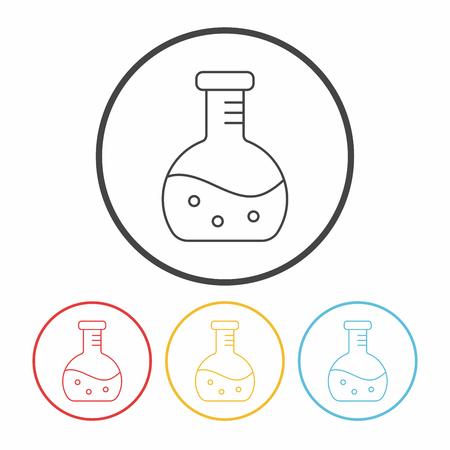 drug discovery: Beaker line icon Illustration