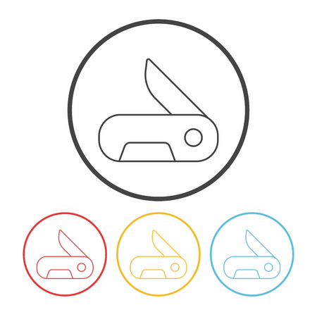 dangerous work: Utility knife line icon