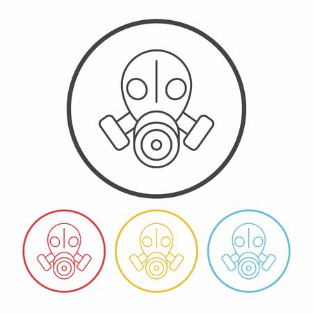 chemical warfare: Gas masks line icon Illustration