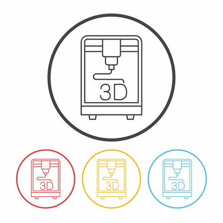 3D printing line icon Stock Vector - 49510721