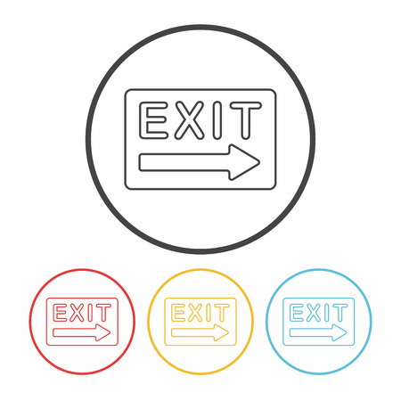 green exit emergency sign: exit line icon Illustration
