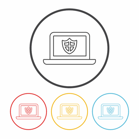 protection icon: Internet Protection line icon Illustration