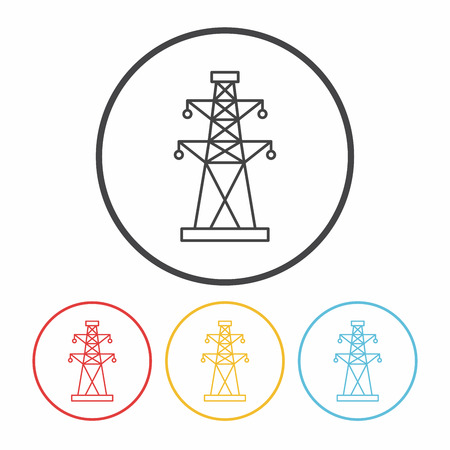 electric line: Electric Tower line icon Illustration