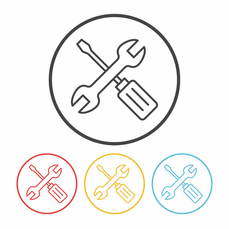 screwdrivers: Screwdrivers and wrench line icon