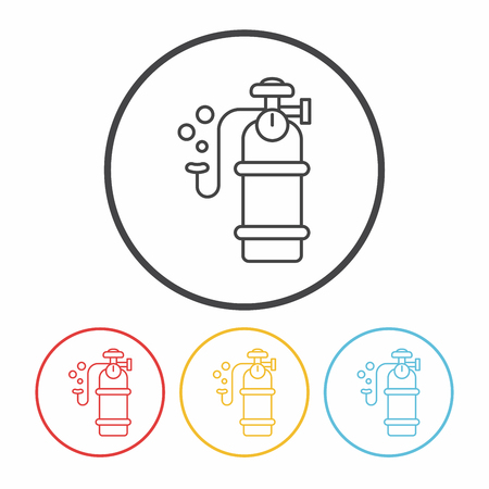 compressed air: Oxygen cylinder line icon
