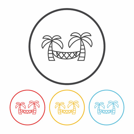hammock: Coconut tree hammock line icon Illustration
