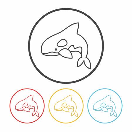 great danger: shark line icon