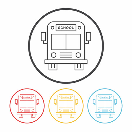 yellow schoolbus: school bus line icon Illustration