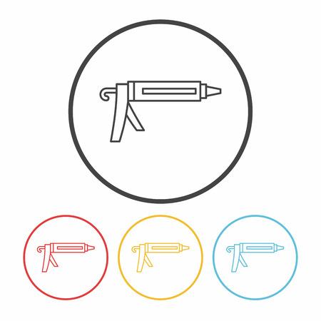 glue: Glue gun line icon Illustration
