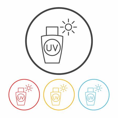 protection icon: sunscreen line icon Illustration