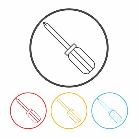 screwdrivers: Screwdrivers line icon Illustration