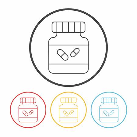 prescription bottles: medicine bottle line icon