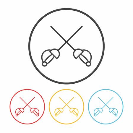 esgrima: Icono de línea de Esgrima Vectores