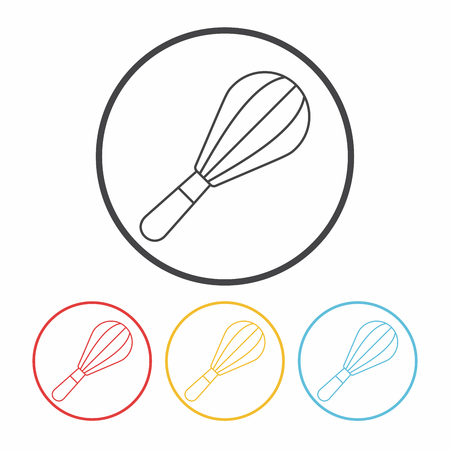 wire whisk: beater line icon Illustration