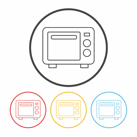 microwave ovens: microwave line icon Illustration