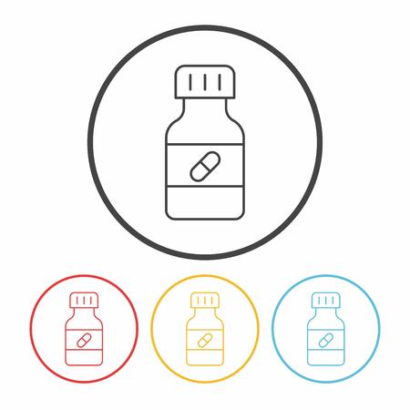 painkiller: medicine bottle line icon