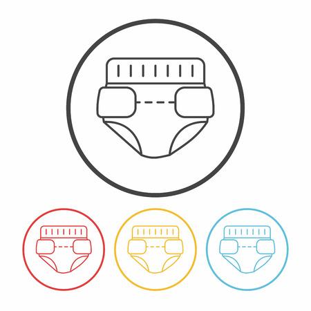 diaper: baby diaper line icon