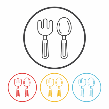baby spoon and fork line icon