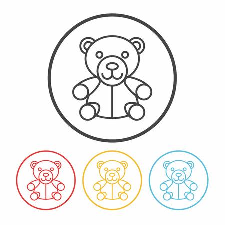 bebes niñas: icono de línea de la muñeca del oso Vectores
