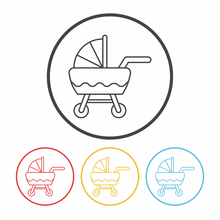 perambulator: Baby carriages line icon
