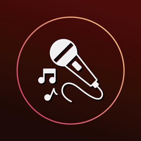 retro radio: record microphone icon Illustration