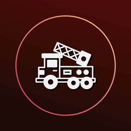 ladder safety: Fire truck icon Illustration