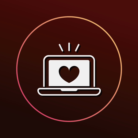 internet dating: love computer icon